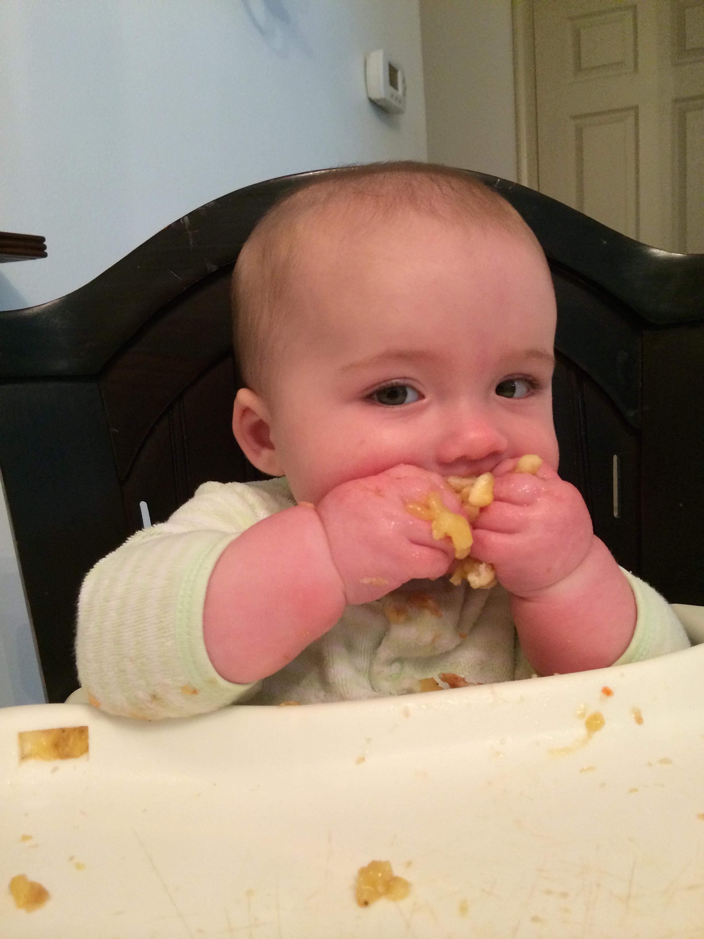 baby led weaning  mashed bananas on toast strips